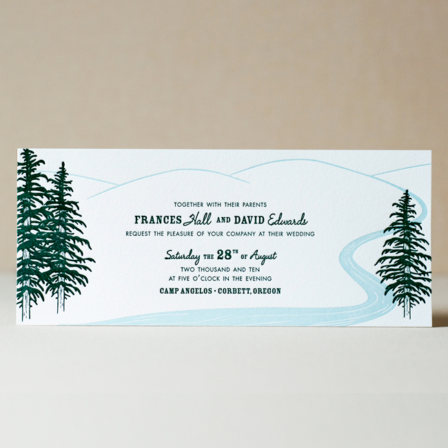 Evergreen & Stream Wedding Invitation