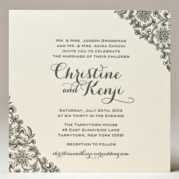 Floral Corners Wedding Invitation